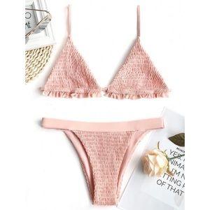 Pink Ruffles Bralette Smocked Bathing Suit